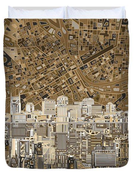 Nashville Skyline Abstract 2 Duvet Cover by Bekim Art