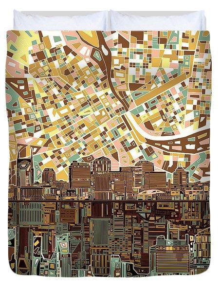 Nashville Skyline Abstract 4 Duvet Cover by Bekim Art