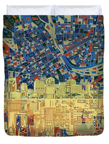 Nashville Skyline Abstract 9 Duvet Cover by Bekim Art