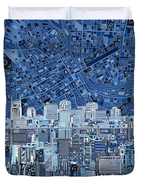 Nashville Skyline Abstract Duvet Cover by Bekim Art