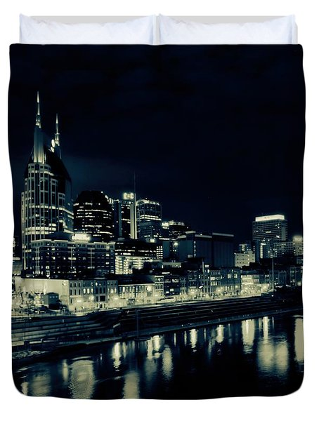 Nashville Skyline Reflected At Night Duvet Cover by Dan Sproul