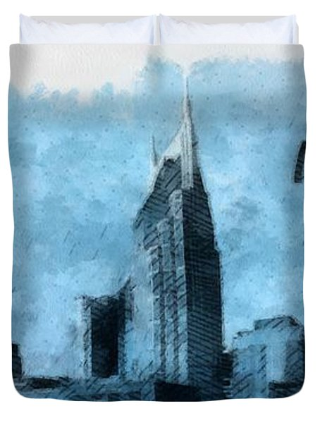 Nashville Tennessee In Blue Duvet Cover by Dan Sproul