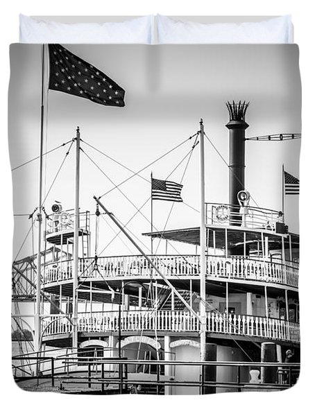 Natchez Steamboat In New Orleans Black And White Picture Duvet Cover by Paul Velgos