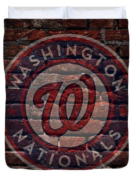 Nationals Baseball Graffiti on Brick  Duvet Cover by Movie Poster Prints