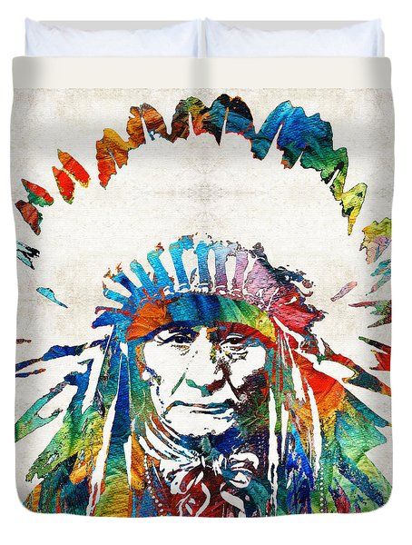 Native American Art - Chief - By Sharon Cummings Duvet Cover by Sharon Cummings