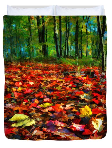Natures Carpet In The Fall Duvet Cover by Dan Friend