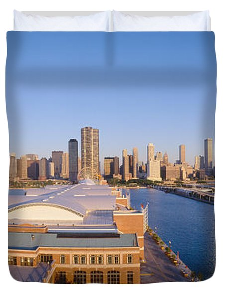 Navy Pier, Chicago, Morning, Illinois Duvet Cover by Panoramic Images