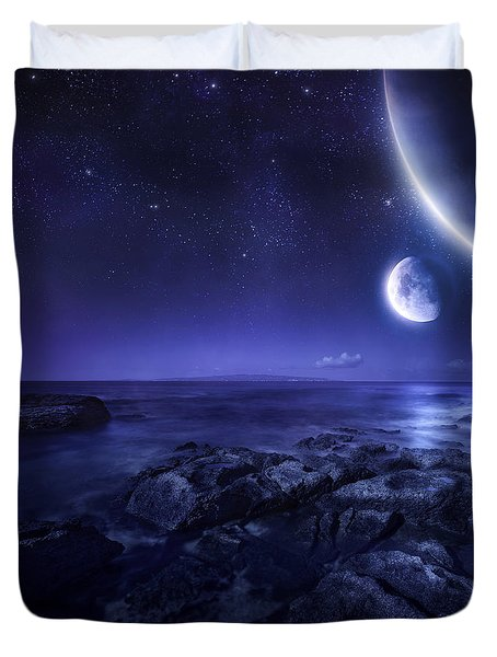 Nearby Planets Hover Over The Ocean Duvet Cover by Evgeny Kuklev