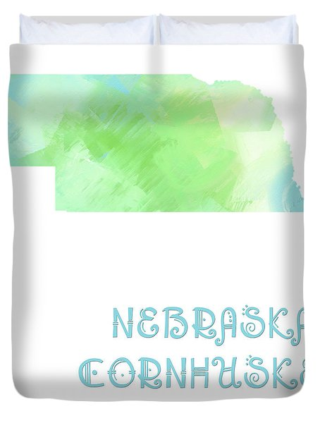 Nebraska - Cornhusker State - Map - State Phrase - Geology Duvet Cover by Andee Design