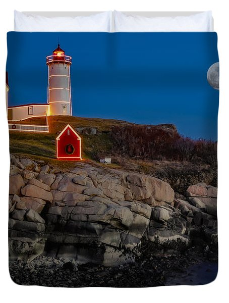 Neddick Lighthouse Duvet Cover by Susan Candelario