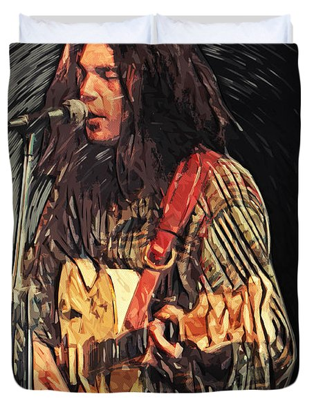 Neil Young Duvet Cover by Taylan Soyturk