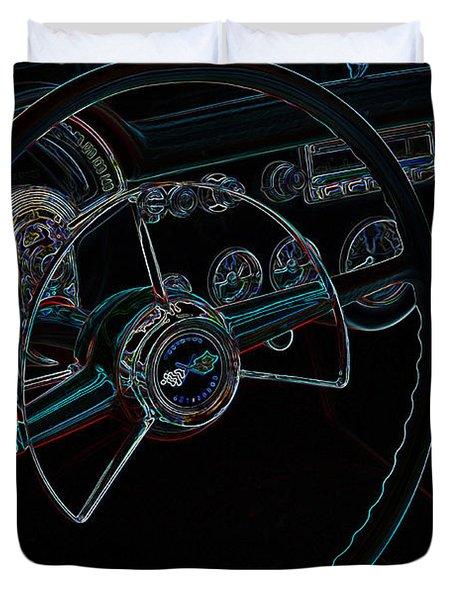 Neon Corvette Dash Duvet Cover by Steve McKinzie