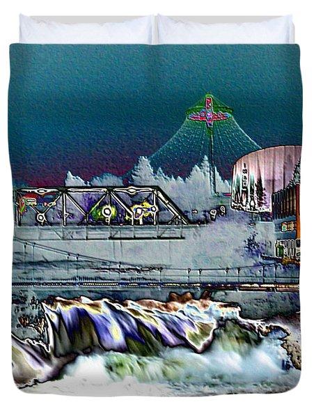 Neon Lights of Spokane Falls Duvet Cover by Carol Groenen