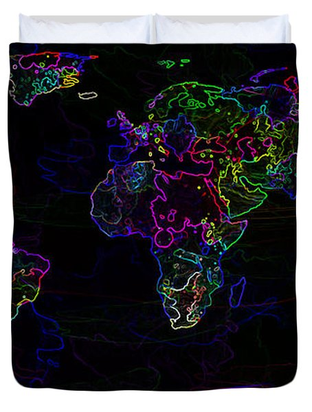 Neon World Map Duvet Cover by Zaira Dzhaubaeva