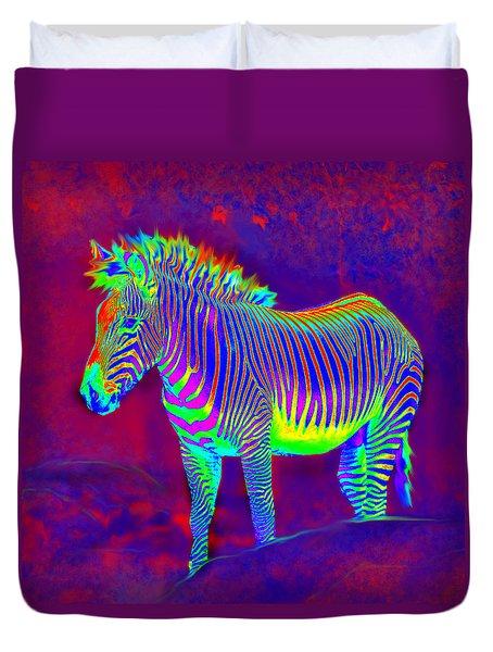 Neon Zebra Duvet Cover by Jane Schnetlage