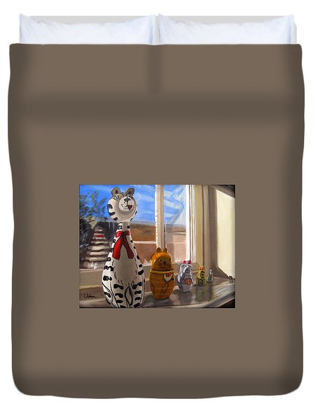Nested Cats Duvet Cover by LaVonne Hand