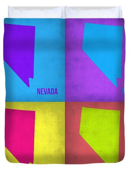 Nevada Pop Art Map 1 Duvet Cover by Naxart Studio