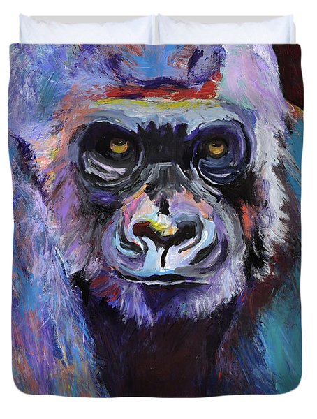 Never Date A Gorilla With A Nice Smile Duvet Cover by Pat Saunders-White