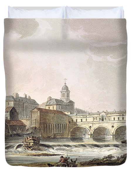 New Bridge, From Bath Illustrated Duvet Cover by John Claude Nattes