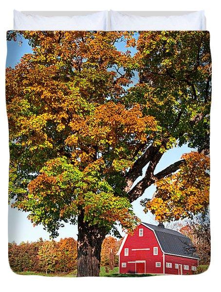 New England Farm Fall Foliage Duvet Cover by Edward Fielding