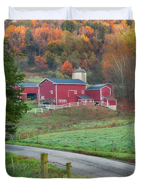 New England Farm Square Duvet Cover by Bill  Wakeley