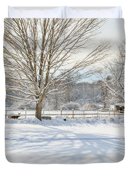 New England Winter Duvet Cover by Bill  Wakeley