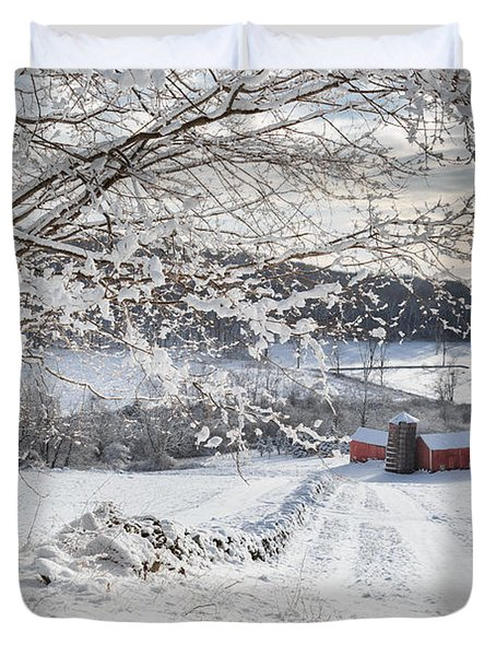 New England Winter Farms Duvet Cover by Bill  Wakeley