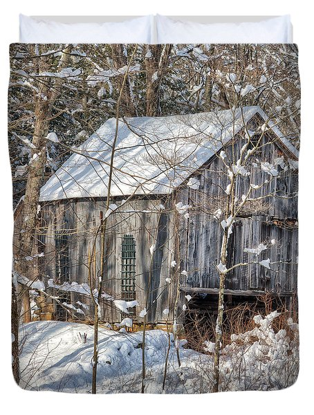 New England Winter Woods Square Duvet Cover by Bill  Wakeley