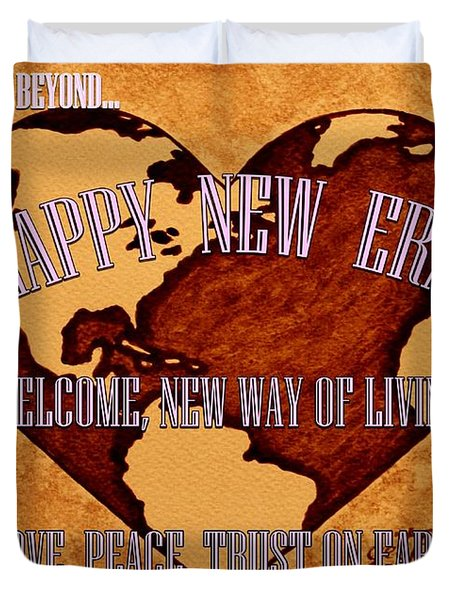 New Era On Earth A New Begining Duvet Cover by Georgeta  Blanaru