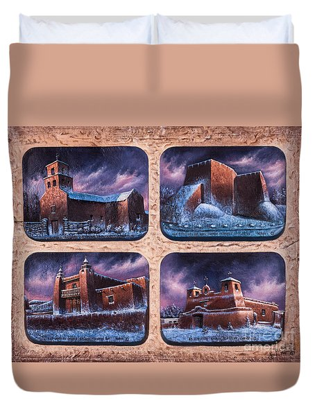 New Mexico Churches In Snow Duvet Cover by Ricardo Chavez-Mendez
