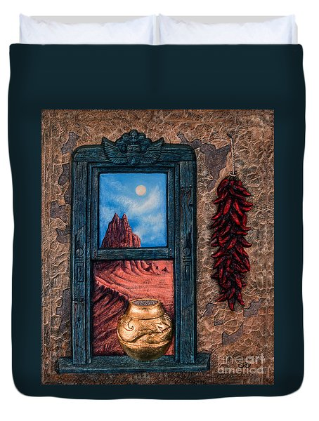 New Mexico Window Gold Duvet Cover by Ricardo Chavez-Mendez