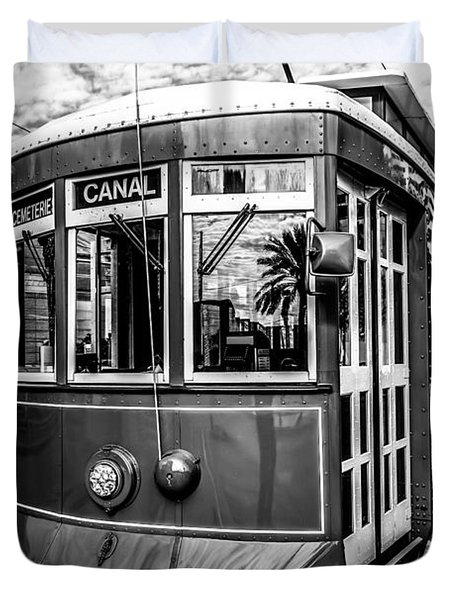 New Orleans Streetcar Black And White Picture Duvet Cover by Paul Velgos