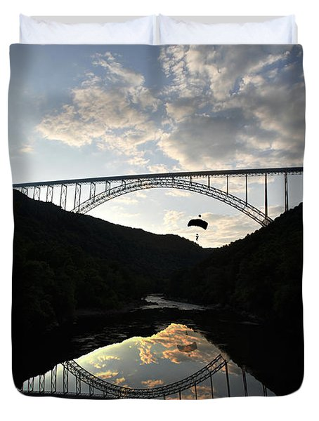 New River Bridge -  Base Jumper Duvet Cover by Dan Friend