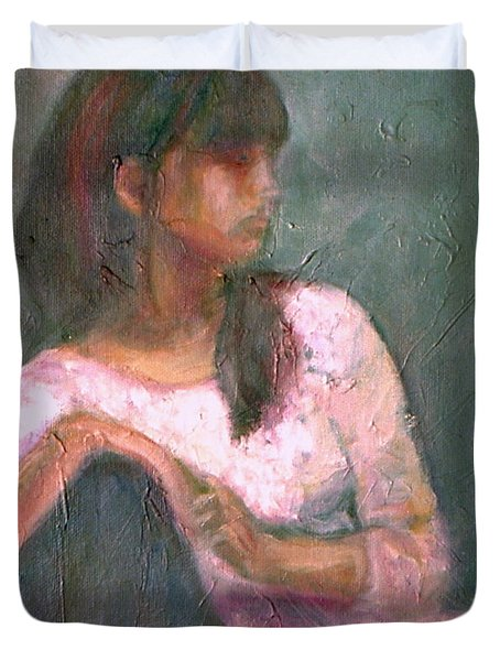 New Year's Blossom - Textural Original Oil On Canvas Portrait Duvet Cover by Quin Sweetman