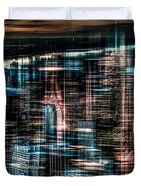 New York - The Night Awakes - Dark Duvet Cover by Hannes Cmarits