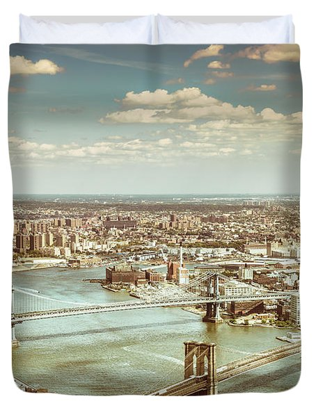 New York City - Brooklyn Bridge And Manhattan Bridge From Above Duvet Cover by Vivienne Gucwa