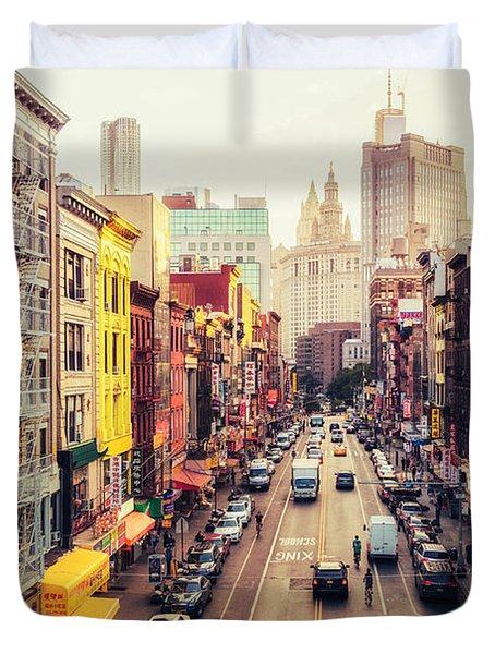 New York City - Chinatown Street Duvet Cover by Vivienne Gucwa