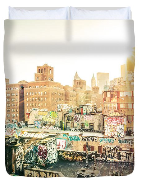 New York City - Graffiti Rooftops Of Chinatown At Sunset Duvet Cover by Vivienne Gucwa