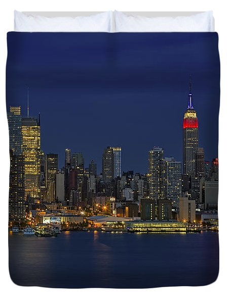 New York City Lights Duvet Cover by Susan Candelario
