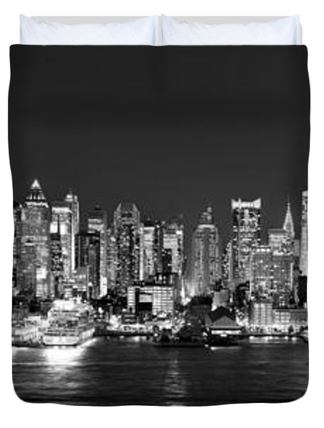 New York City NYC Skyline Midtown Manhattan at Night Black and White Duvet Cover by Jon Holiday