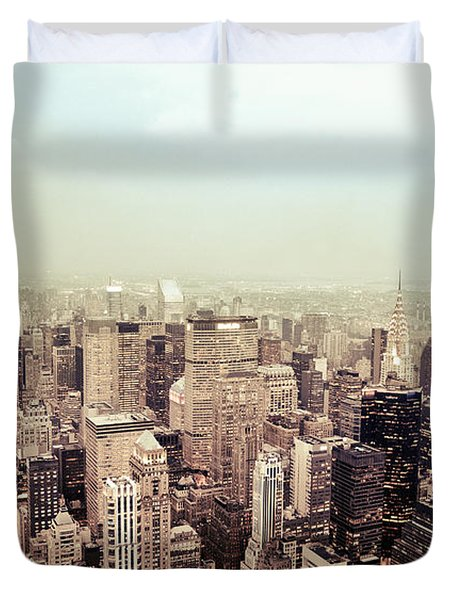 New York City - Skyline on a Hazy Evening Duvet Cover by Vivienne Gucwa