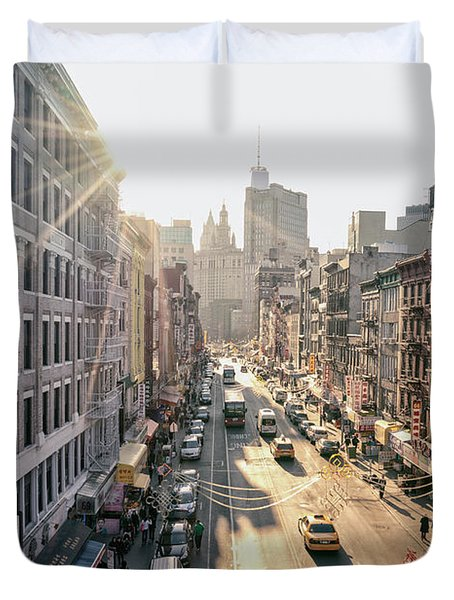 New York City - Sunset Above Chinatown Duvet Cover by Vivienne Gucwa