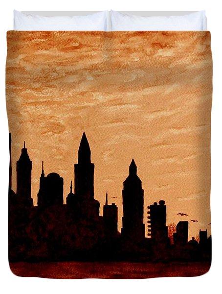 New York City Sunset Silhouette Duvet Cover by Georgeta  Blanaru