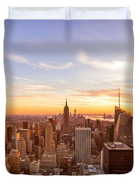 New York City - Sunset Skyline Duvet Cover by Vivienne Gucwa