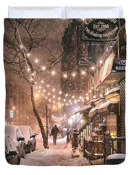 New York City - Winter Snow Scene - East Village Duvet Cover by Vivienne Gucwa