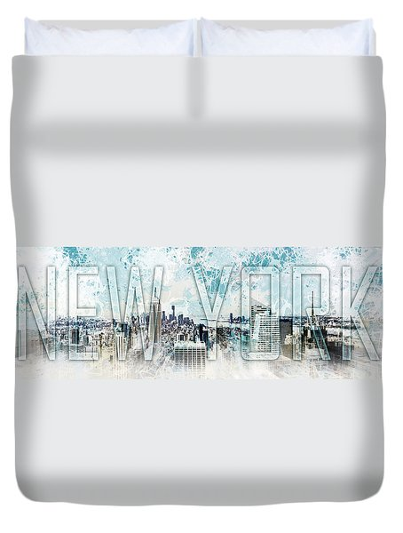 New York Digital-art No.1 Duvet Cover by Melanie Viola