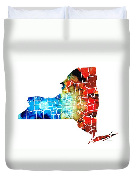 New York - Map By Sharon Cummings Duvet Cover by Sharon Cummings
