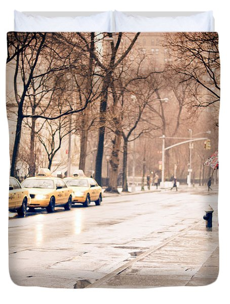 New York Rain - Greenwich Village Duvet Cover by Vivienne Gucwa