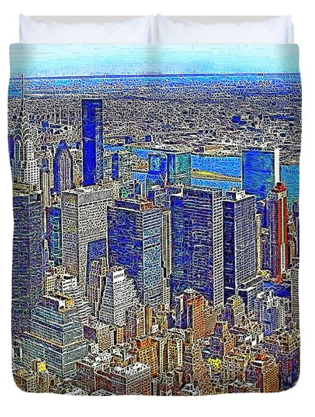 New York Skyline 20130430v3 Duvet Cover by Wingsdomain Art and Photography