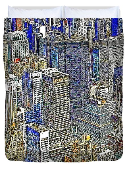 New York Skyline 20130430v5-square Duvet Cover by Wingsdomain Art and Photography